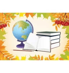 Autumn school background with globe books and vector