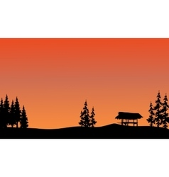 Silhouette of gazebo and spruce vector