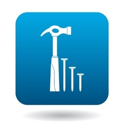 Hammer and nails icon in simple style vector