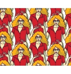 Blond pretty woman in red crowd color seamless vector