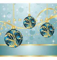 abstract blue background with christmas balls - vector image vector image
