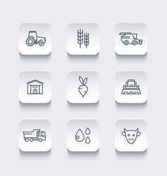 agriculture farming line icons vector image