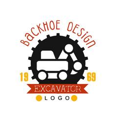 Backhoe design estd 1989 excavator logo vector