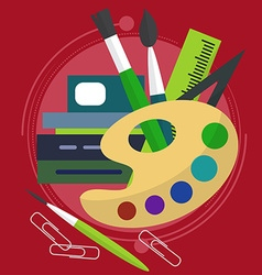 Chaotic spread the paint with brushes books and vector image vector image
