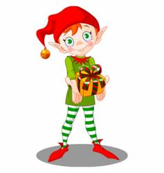 Christmas elf gift vector image