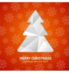 Christmas tree paper card vector image