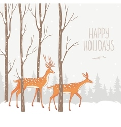 deer winter forest vector image vector image
