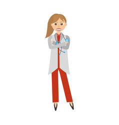 female doctor wearing coat and stethoscope vector image vector image