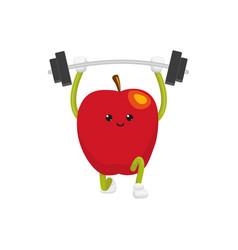 Flat apple character powerlifting sportsman vector