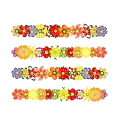 Flower design set made from fruits vector image vector image