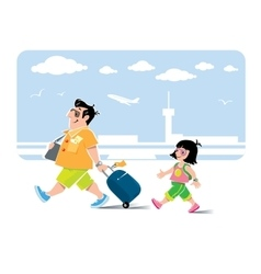 Funny air passenger and his daughter with baggage vector image