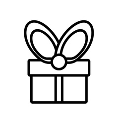 gift box wrapped ribbon bow outline vector image vector image