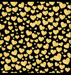 Glitter golden heart seamless background vector