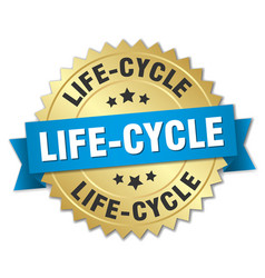 Life-cycle round isolated gold badge vector