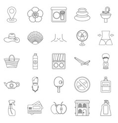 Makeup icons set outline style vector