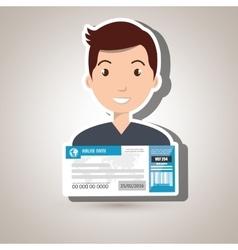 Man ticket travel icon vector