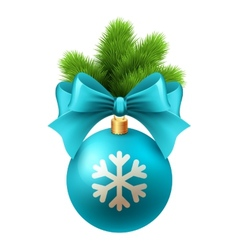 Merry Christmas card with blue bauble vector image vector image
