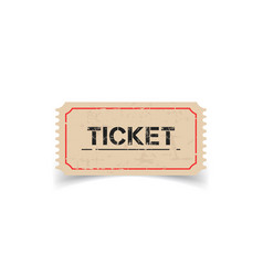 Old ticket with grunge effect flat on white vector