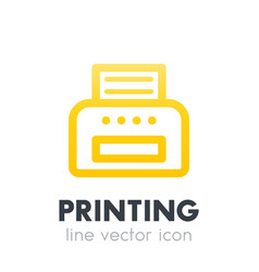Printer icon on white line style vector