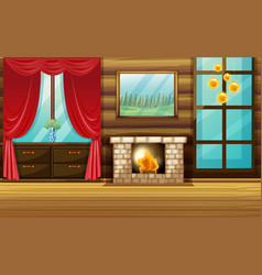Room with fireplace and red curtain vector