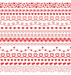 Set of brushes with hearts to create frames vector