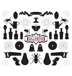 Set of silhouettes and shapes on halloween theme vector