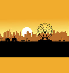 Silhouette amusement park scenery for kid vector
