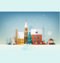 Small european town in snowfall snowy cityscape vector