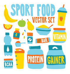 Sport food nutrition objects vector