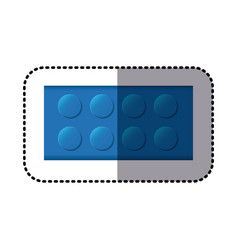 Sticker colorful lego rectangle shape block icon vector