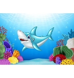 Stylized cartoon angry shark vector