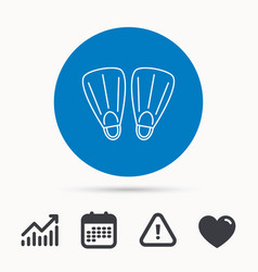 Swimming flippers icon diving sign vector
