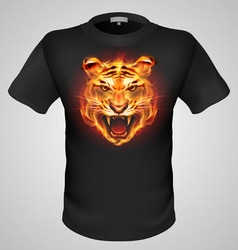 T shirts black fire print man 03 vector
