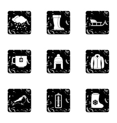 Winter icons set grunge style vector image vector image