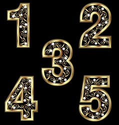 Gold numbers with swirly ornaments vector