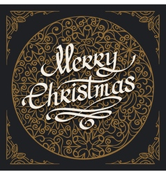 Merry Christmas handmade lettering Emblem vector image