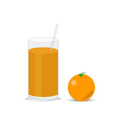 fresh orange and a glass of juice squeezed vector image