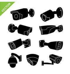 Cctv camera silhouettes vector