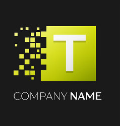 letter t logo symbol in the colorful square vector image