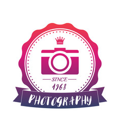 Photography vintage logo with camera emblem vector