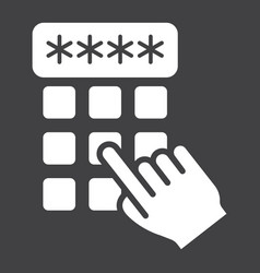 Hand finger entering pin code solid icon unlock vector