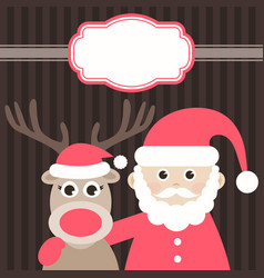 Christmas card with cute deer and santa claus vector