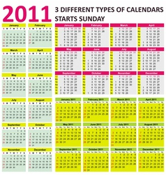 2011 calendars vector image vector image
