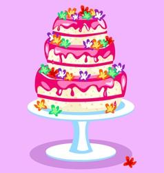 Three-tier-pink-cake vector image