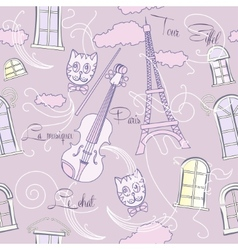 Seamless pattern with music and city vector image