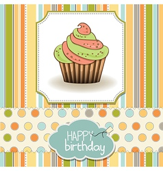 Cute happy birthday card with cupcake vector