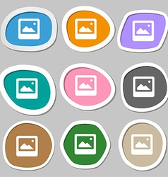 Photo frame template icon symbols multicolored vector