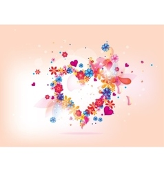 Abstract floral heart background for vlentines day vector