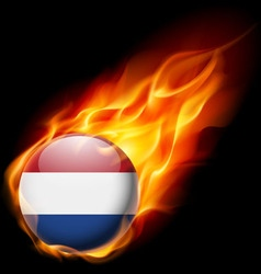 Round glossy icon of netherlands vector
