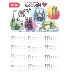 Calendar 2016london landmarks skylinewatercolor vector